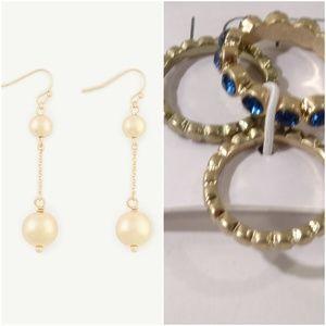 Ann taylor Gold Orb Linear Ball Drop Earrings RING